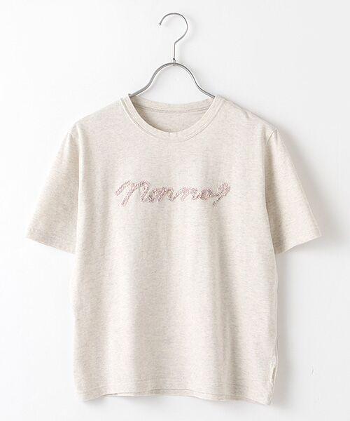 Mademoiselle NONNON / マドモアゼルノンノン Tシャツ | 甘撚天竺コード刺繍Tシャツ[ロゴ&四つ葉のクローバー刺繍 半袖](TOPオートミール)