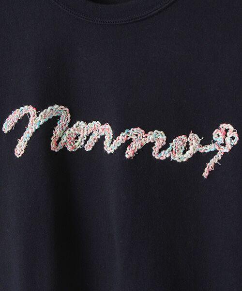 Mademoiselle NONNON / マドモアゼルノンノン Tシャツ | 甘撚天竺コード刺繍Tシャツ[ロゴ&四つ葉のクローバー刺繍 半袖] | 詳細2