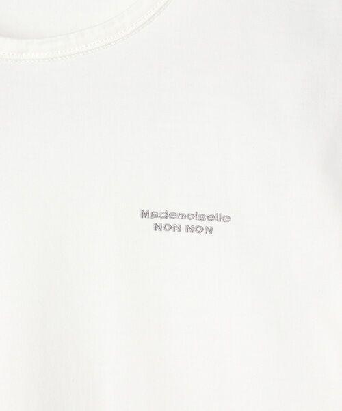 Mademoiselle NONNON / マドモアゼルノンノン Tシャツ   SILKY SKIN TOUCH天竺 ブランドロゴ刺繍入りTシャツ[クルーネック・半袖]   詳細2