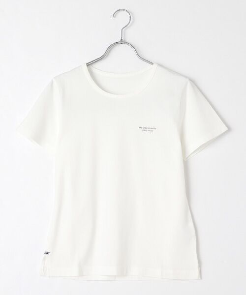 Mademoiselle NONNON / マドモアゼルノンノン Tシャツ   SILKY SKIN TOUCH天竺 ブランドロゴ刺繍入りTシャツ[クルーネック・半袖](オフシロ)