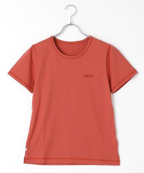 Mademoiselle NONNON / マドモアゼルノンノン Tシャツ   SILKY SKIN TOUCH天竺 ブランドロゴ刺繍入りTシャツ[クルーネック・半袖](アプリコットローズ)