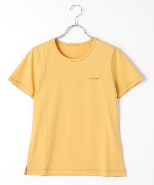 Mademoiselle NONNON / マドモアゼルノンノン Tシャツ   SILKY SKIN TOUCH天竺 ブランドロゴ刺繍入りTシャツ[クルーネック・半袖](スモークイエロー)