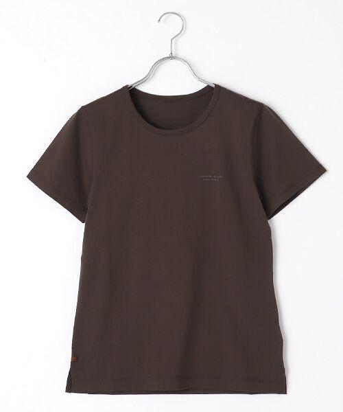 Mademoiselle NONNON / マドモアゼルノンノン Tシャツ   SILKY SKIN TOUCH天竺 ブランドロゴ刺繍入りTシャツ[クルーネック・半袖](スモークブラウン)