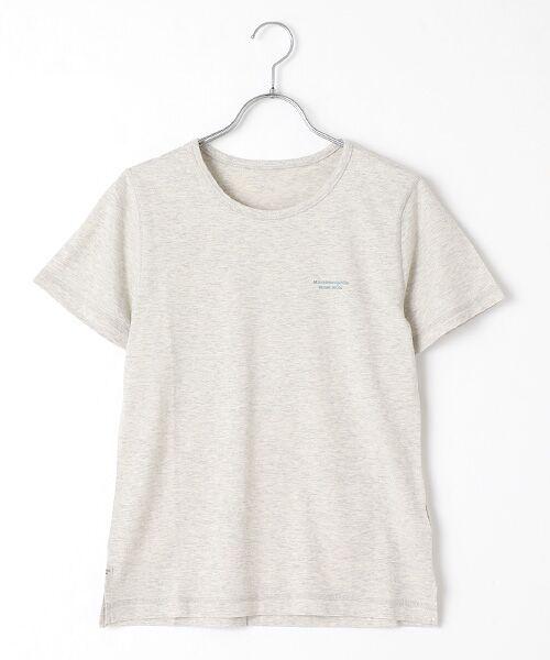 Mademoiselle NONNON / マドモアゼルノンノン Tシャツ   SILKY SKIN TOUCH天竺 ブランドロゴ刺繍入りTシャツ[クルーネック・半袖](TOPライトオートミール)