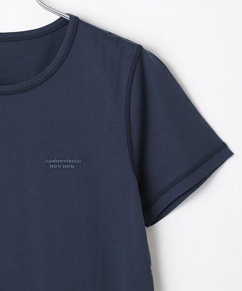 Mademoiselle NONNON / マドモアゼルノンノン Tシャツ   SILKY SKIN TOUCH天竺 ブランドロゴ刺繍入りTシャツ[クルーネック・半袖]   詳細12