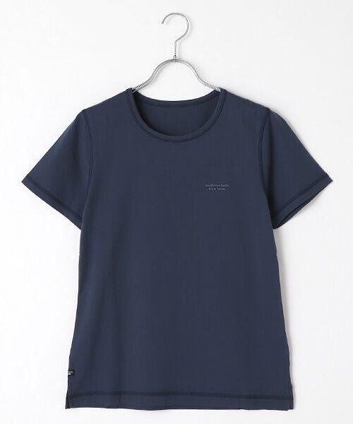 Mademoiselle NONNON / マドモアゼルノンノン Tシャツ   SILKY SKIN TOUCH天竺 ブランドロゴ刺繍入りTシャツ[クルーネック・半袖](インディゴブルー)