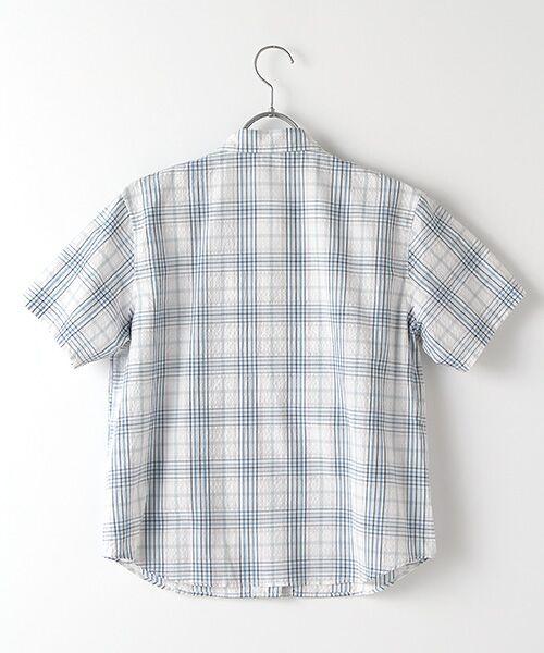Mademoiselle NONNON / マドモアゼルノンノン シャツ・ブラウス | ナチュラルサッカーチェック柄 両胸ポケット付きシャツ[シャツカラー・半袖] | 詳細1