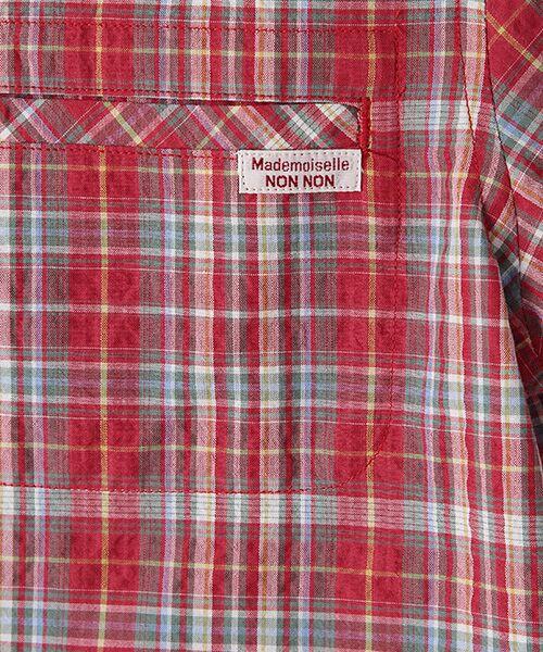 Mademoiselle NONNON / マドモアゼルノンノン シャツ・ブラウス | ナチュラルサッカーチェック柄 両胸ポケット付きシャツ[シャツカラー・半袖] | 詳細5