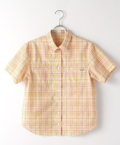 Mademoiselle NONNON / マドモアゼルノンノン シャツ・ブラウス | ナチュラルサッカーチェック柄 両胸ポケット付きシャツ[シャツカラー・半袖](オレンジ系)