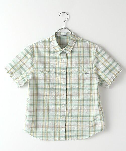 Mademoiselle NONNON / マドモアゼルノンノン シャツ・ブラウス | ナチュラルサッカーチェック柄 両胸ポケット付きシャツ[シャツカラー・半袖](ライム系)