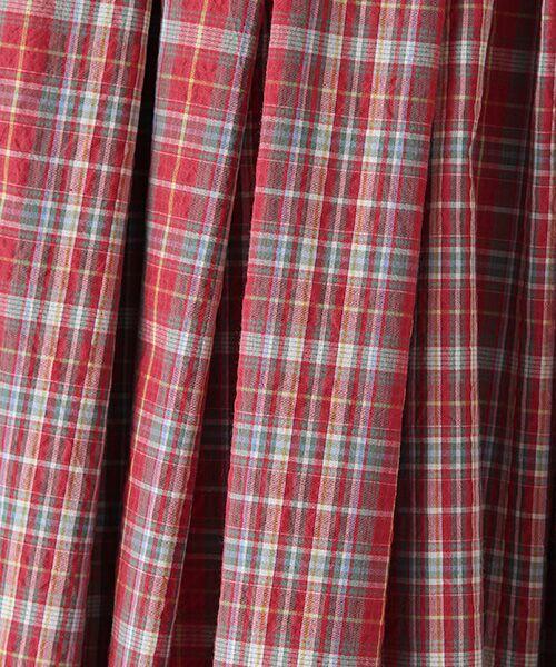 Mademoiselle NONNON / マドモアゼルノンノン ロング・マキシ丈スカート | ナチュラルサッカーチェック柄 ロングタックスカート[裏地無し・ウエストゴム・共紐入り] | 詳細1