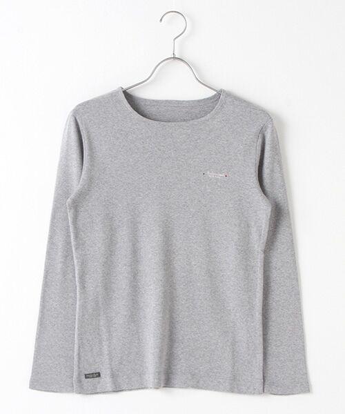 Mademoiselle NONNON / マドモアゼルノンノン Tシャツ   スーピマコットンフライス 刺繍入りTシャツ(TOPグレー)
