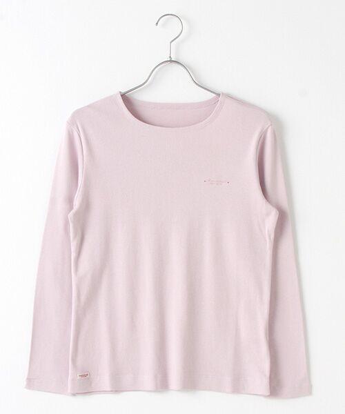 Mademoiselle NONNON / マドモアゼルノンノン Tシャツ   スーピマコットンフライス 刺繍入りTシャツ(スモークピンク)