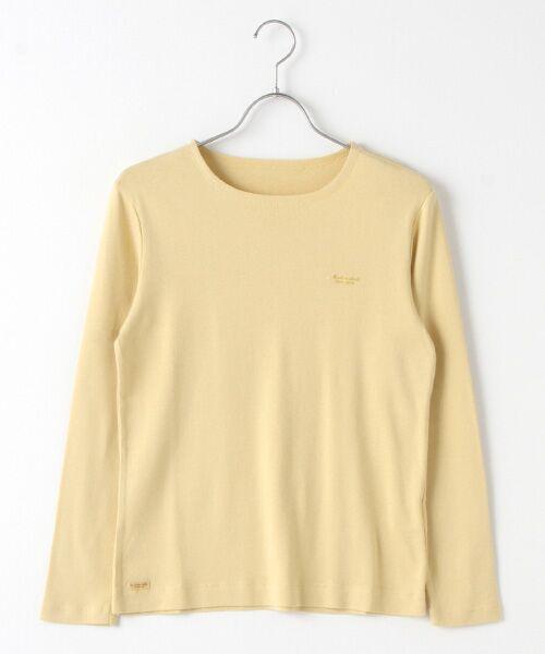 Mademoiselle NONNON / マドモアゼルノンノン Tシャツ   スーピマコットンフライス 刺繍入りTシャツ(スモークイエロー)