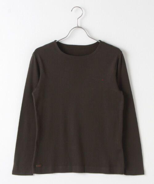 Mademoiselle NONNON / マドモアゼルノンノン Tシャツ   スーピマコットンフライス 刺繍入りTシャツ(ダークカーキグリーン)