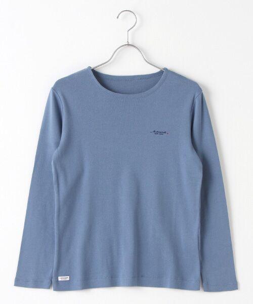 Mademoiselle NONNON / マドモアゼルノンノン Tシャツ   スーピマコットンフライス 刺繍入りTシャツ(ライトブルー)
