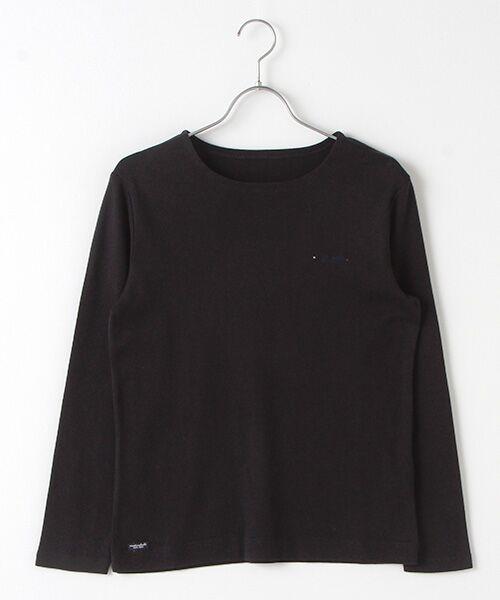 Mademoiselle NONNON / マドモアゼルノンノン Tシャツ   スーピマコットンフライス 刺繍入りTシャツ(ネイビー)