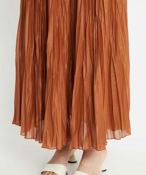 MICHEL KLEIN / ミッシェルクラン ロング・マキシ丈スカート   【洗える】チンツ加工プリーツスカート   詳細7
