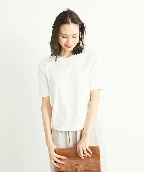 MICHEL KLEIN / ミッシェルクラン カットソー | 【洗える】クルーネックフライスTシャツ(ホワイト)