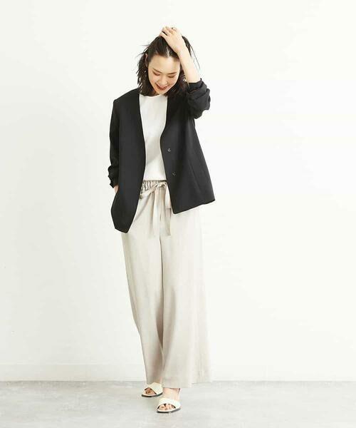 MICHEL KLEIN / ミッシェルクラン その他パンツ   【セットアップ対応/洗える】リネンライクイージーパンツ   詳細8