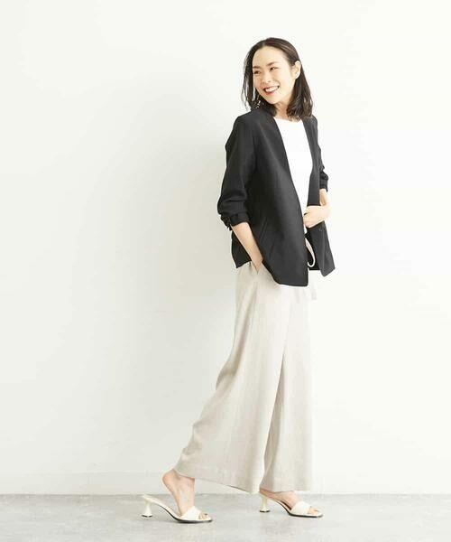 MICHEL KLEIN / ミッシェルクラン その他パンツ   【セットアップ対応/洗える】リネンライクイージーパンツ   詳細9