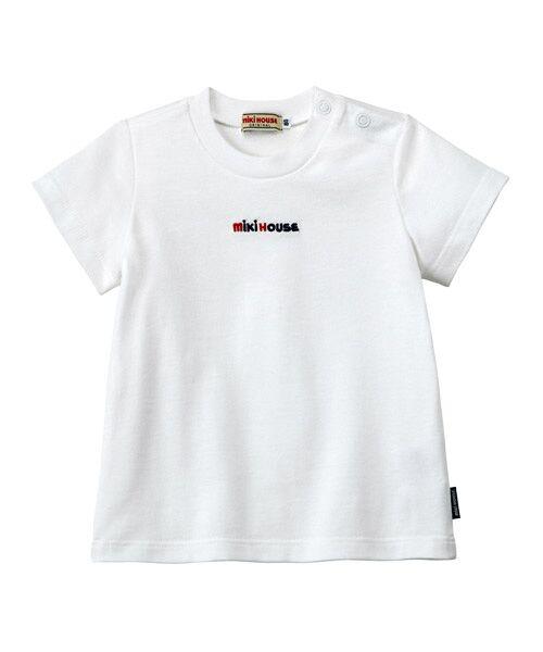 MIKI HOUSE / ミキハウス Tシャツ   ロゴ刺しゅう入り半袖Tシャツ(白)