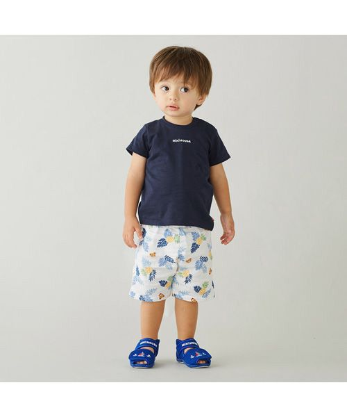 MIKI HOUSE / ミキハウス Tシャツ   ロゴ刺しゅう入り半袖Tシャツ(紺)