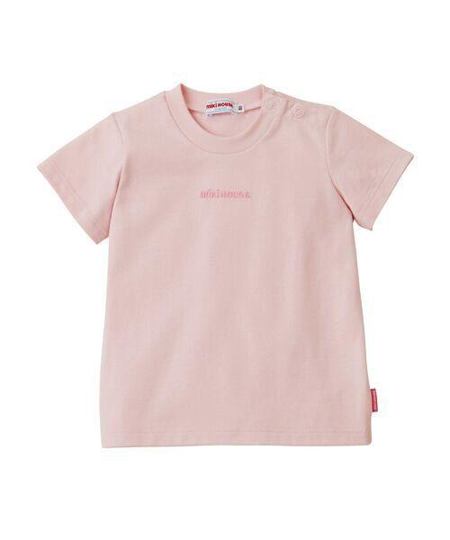 MIKI HOUSE / ミキハウス Tシャツ   ロゴ刺しゅう入り半袖Tシャツ(ピンク)