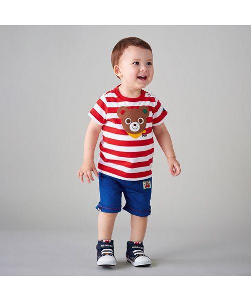 MIKI HOUSE / ミキハウス Tシャツ | プッチー ワッペン付きボーダー半袖Tシャツ(80㎝~100㎝)(赤)