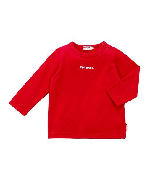 MIKI HOUSE / ミキハウス Tシャツ | ロゴ刺繍長袖Tシャツ(赤)