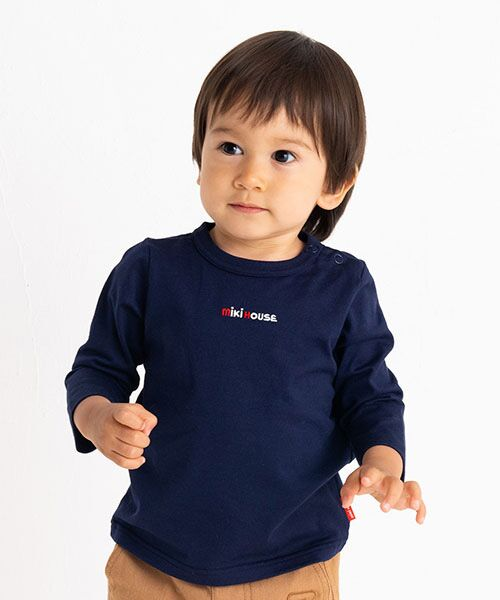 MIKI HOUSE / ミキハウス Tシャツ | ロゴ刺繍長袖Tシャツ(紺)