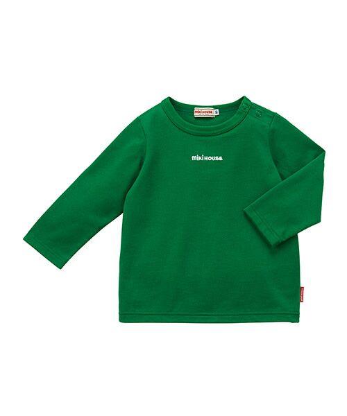 MIKI HOUSE / ミキハウス Tシャツ | ロゴ刺繍長袖Tシャツ(グリーン)