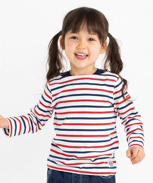 MIKI HOUSE / ミキハウス Tシャツ | ボーダー長袖Tシャツ(赤x紺)
