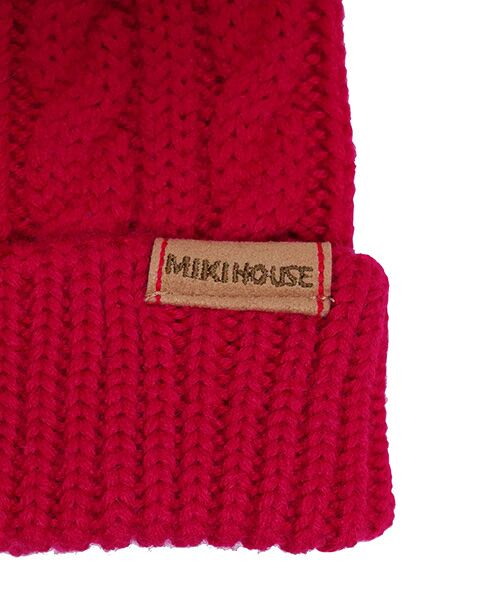 MIKI HOUSE / ミキハウス ニットキャップ | ぼん天付き ケーブル編みニットフード | 詳細2