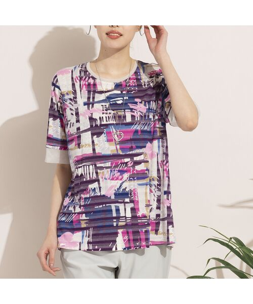 MISSEL / ミゼール カットソー | シャドーボーダーアートプリントTシャツ(ピンク)