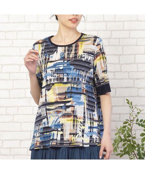 MISSEL / ミゼール カットソー | シャドーボーダーアートプリントTシャツ(ブルー)