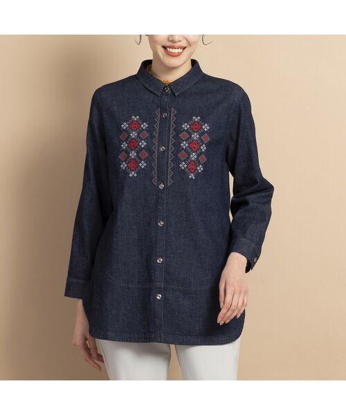 MISSEL / ミゼール シャツ・ブラウス   ライトストレッチデニム刺繍入りシャツ   詳細10
