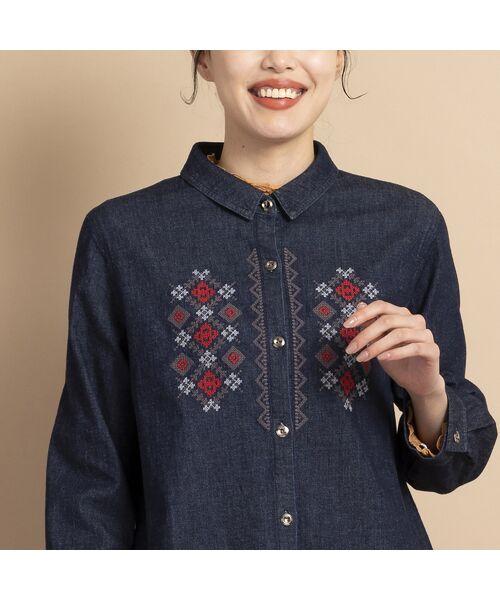 MISSEL / ミゼール シャツ・ブラウス   ライトストレッチデニム刺繍入りシャツ   詳細3