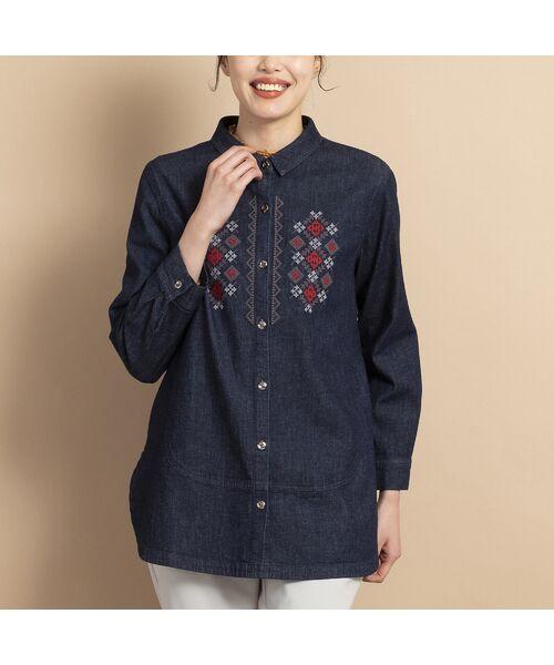 MISSEL / ミゼール シャツ・ブラウス   ライトストレッチデニム刺繍入りシャツ(ダークブルー)
