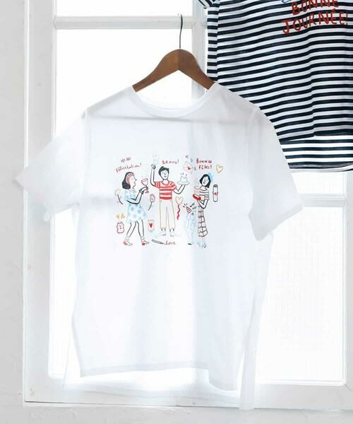 MK MICHEL KLEIN / エムケーミッシェルクラン カットソー | 【Marie Ass?nat×MICHEL KLEIN】コラボTシャツ ?BRAVO!-(ホワイト)