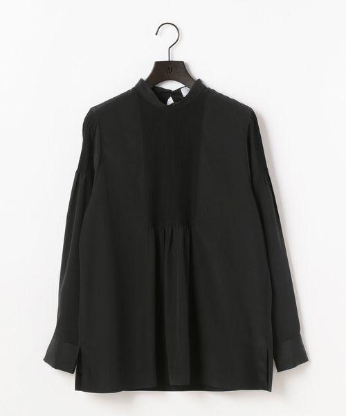 MOGA / モガ シャツ・ブラウス   クレープデシンピンタックブラウス(ブラック)