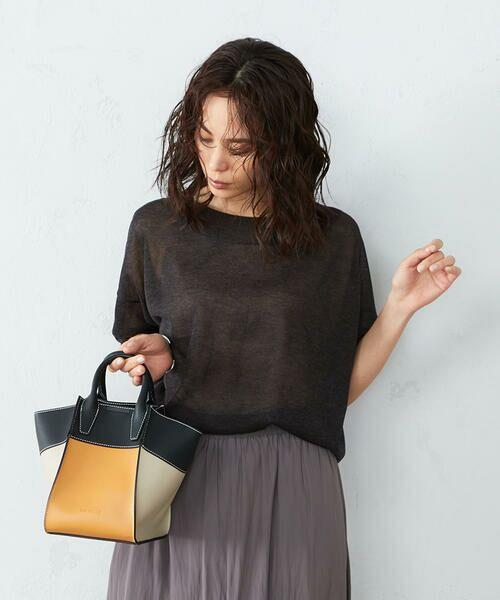 MONO COMME CA / モノコムサ ハンドバッグ   〈2WAY〉フェイクレザー 配色カラー バッグ(ブラック)