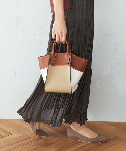 MONO COMME CA / モノコムサ ハンドバッグ   〈2WAY〉フェイクレザー 配色カラー バッグ(ブラウン)
