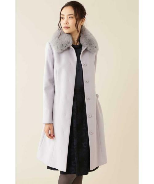 NATURAL BEAUTY / ナチュラルビューティー アウター | カシミヤ混フォックスファー襟ロングウールコート(グレー2)