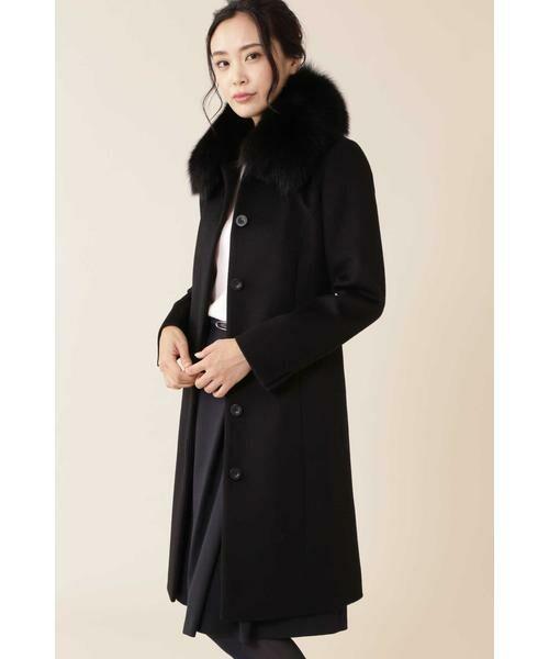 NATURAL BEAUTY / ナチュラルビューティー アウター | カシミヤ混フォックスファー襟ロングウールコート(ブラック)