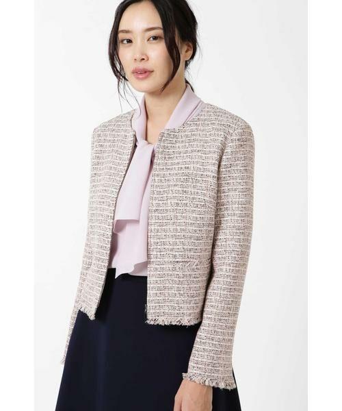 NATURAL BEAUTY / ナチュラルビューティー テーラードジャケット   ◆カラーミックスツィードジップアップジャケット(ピンク)