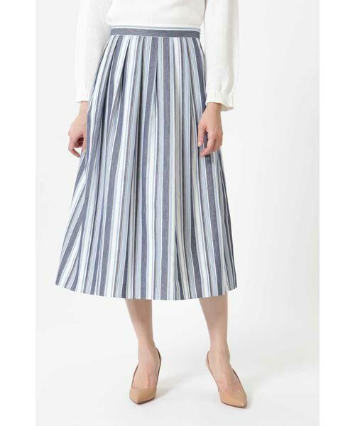 NATURAL BEAUTY / ナチュラルビューティー スカート | ◆ランダムストライプスカート(ブルー)