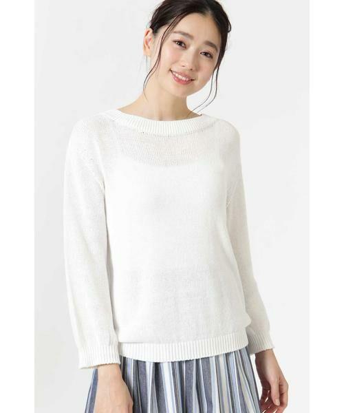 NATURAL BEAUTY / ナチュラルビューティー ニット・セーター | ◆麻調ローゲージニット(ホワイト)