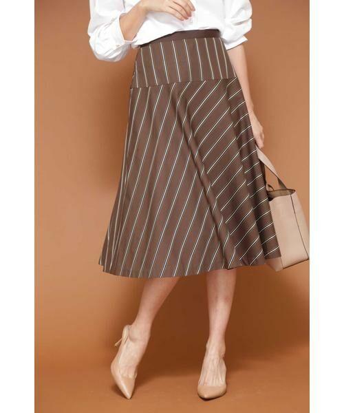 NATURAL BEAUTY / ナチュラルビューティー スカート | ◆[WEB限定商品]サテンストライプフレアースカート(ブラウン)