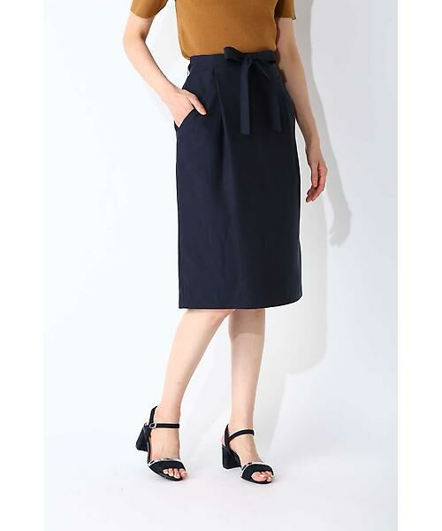 NATURAL BEAUTY BASIC / ナチュラルビューティーベーシック スカート | ウエストリボンタイトスカート(ネイビー)